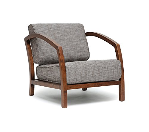 Baxton Studio Velda Modern Accent Chair - Modern, low seat height Rubber wood frame with medium finish 80% cotton, 20% polyester brown fabric - living-room-furniture, living-room, accent-chairs - 41q8SJaus3L -