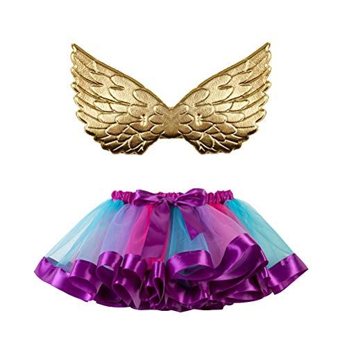 Amosfun Rainbow Tutu Skirt Layered Mesh Ballet Tulle
