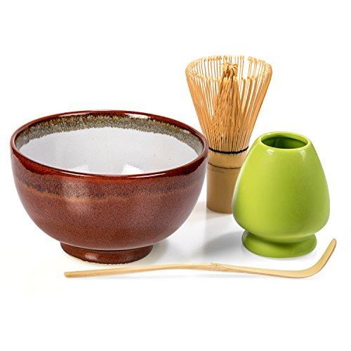 Tealyra - Matcha - Start Up Kit - 4 items - Matcha Green Tea Gift Set - Japanese Made Red Bowl - Bamboo Whisk and Scoop - Whisk Holder - Gift Box