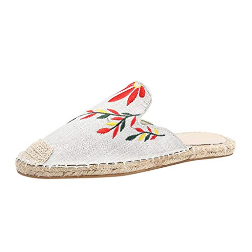 kaifongfu Women Ladies Fashion Embroidered Flat Sandals Slipper Round Toe Casual Shoes 2019 New Summer Beach ()