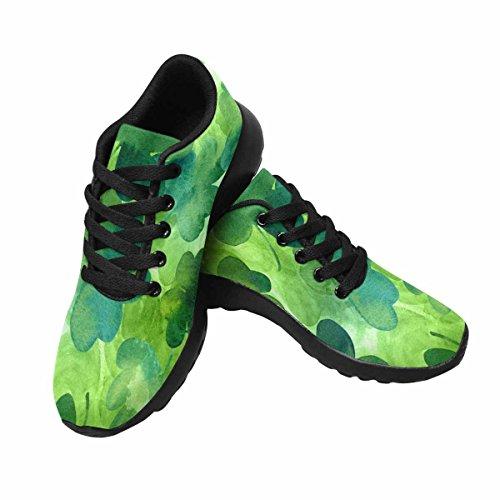 InterestPrint Womens Jogging Running Sneaker Lightweight Go Easy Walking Comfort Sports Athletic Shoes Hand Drawn Watercolour Shamrocks On Green Background kcTbhJdVo