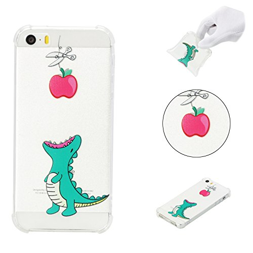 iPhone 5SE Case,iPhone 5S Case,AMYM Amusing Whimsical Painted Design Transparent Shockproof TPU Soft Case Rubber Silicone Cover for iPhone 5SE/5S/5C/5 (Crocodile)