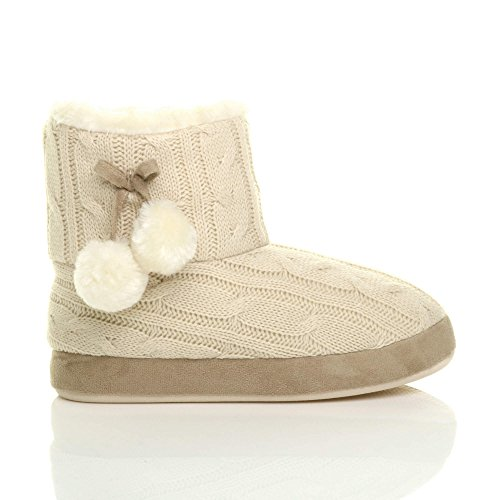 Ajvani Womens Ladies Winter pom pom Fur Lined Comfort Knitted Ankle Slipper Boots Booties Size Beige xapKnjra