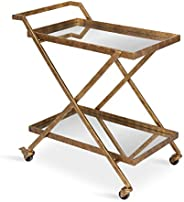 Kate and Laurel Tarrant 2-Shelf Metal and Mirror Tray Bar, Kitchen, Multi-Purpose Cart, Gold