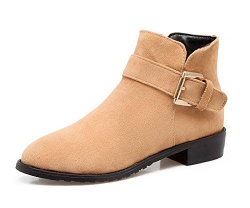 AgooLar Damen Ziehen auf Spitz Zehe Niedriger Absatz Blend-Materialien Rein Stiefel, Grau, 36