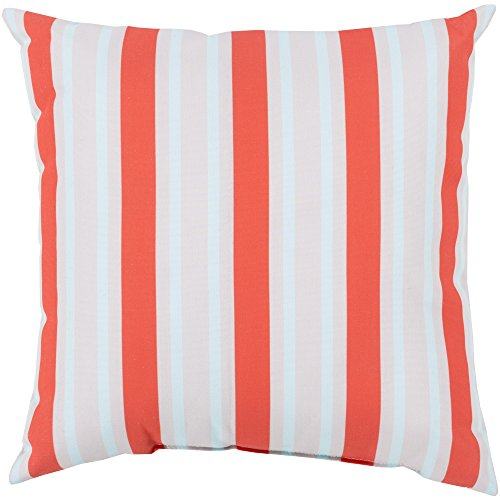 Surya RG110-2626 Indoor/Outdoor Pillow, 26-Inch by 26-Inch, Coral/Light Gray/Sky Blue ()