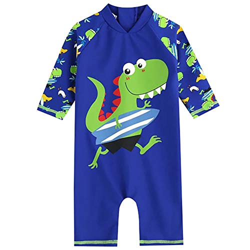 Baby Boys Premium Surf One Piece Zip Short Sleeve Rash Guard UV All-in-One Swimsuit Swimwear Green XL