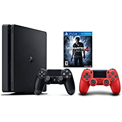 PlayStation 4 Slim Console 2 items Bundle:PS4 Slim-Uncharted 4 Bundle,Sony PlayStation 4 Dualshock 4 Wireless Controller Red