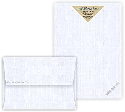 5X7 Folded Size with A-7 Envelopes - Bright White Linen - 25 Sets (7X10 Cards Scored to Fold in Half) Blank Matching Pack Invitations, Thank Yous, Notes, Occasions -80# Cardstock by ThunderBolt Paper