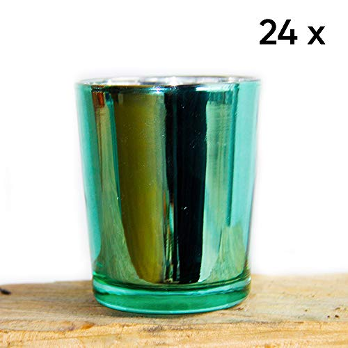 Premium Set of 24 Emerald Green Metallic Votive Candle Holder Ideal for Weddings, Parties, Special Events, Wholesale Bulk Pack -