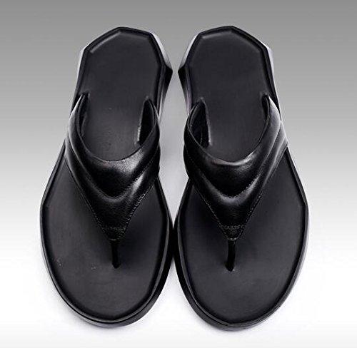 Happyshop (tm) Heren Echt Leer Slippers Sandalen Vrijetijdsbesteding Anti-slip Slipper Mode Flip-flops Zwart