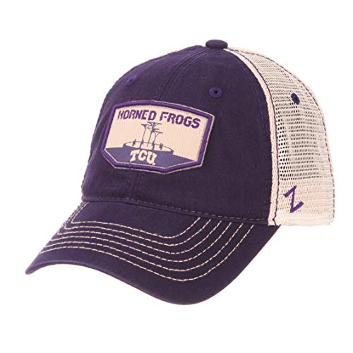 (Zephyr NCAA TCU Horned Frogs Men's Trademark Relaxed Cap, Adjustable, Washed Team/White)