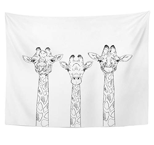 Emvency Tapestry Polyester Fabric Print Home Decor Zoo Giraffe Heads Sketch Animal Collection Drawing Engraved Etching Fauna Wall Hanging Tapestry for Living Room Bedroom Dorm 60x80 inches