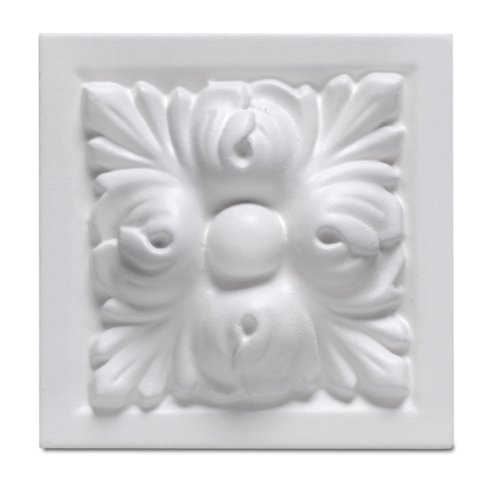 (Focal Point 97730 Madison Block Rosette 3 7/8-Inch by 3 7/8-Inch by 1 1/2-Inch, Primed White)