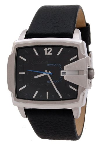 - Diesel Analog Black Dial Blue Accented Leather Men's Watchs Watch DZ1495