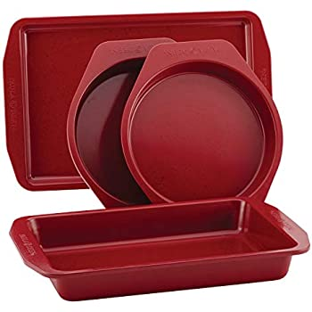 Paula Deen 46652 Speckle Nonstick Bakeware Set with Baking Pan, Cake Pans and Cookie Sheet / Baking Sheet - 4 Piece, Red Speckle
