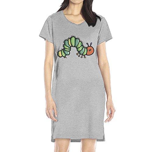 Hoeless Hungry Caterpillar Women's Short Sleeve Casual T-Shirt Dress (Hungry Caterpillar Halloween Costume)