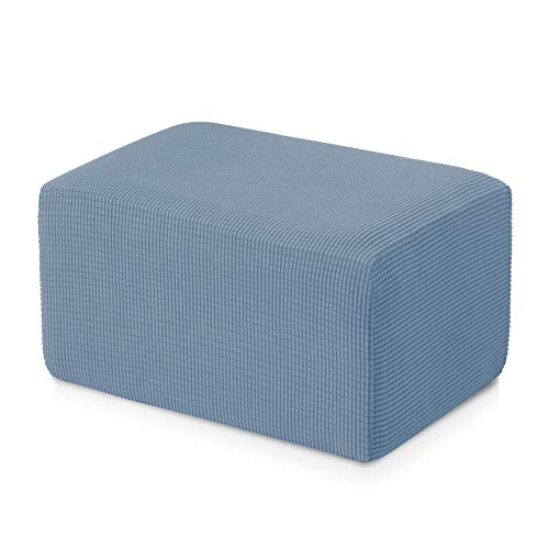 Subrtex Stretch Storage Ottoman Slipcover Protector Spandex Elastic Rectangle Footstool Sofa Slip Cover for Foot Rest Stool Furniture in Living Room (Oversize, Steel Blue) ()