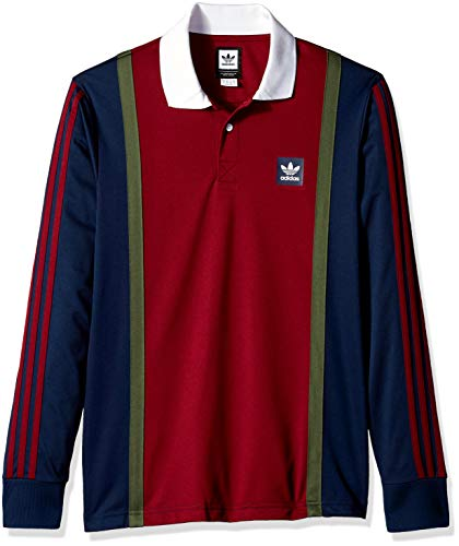 e66e214b366 adidas Originals Men's Skateboarding Rugby Jersey, Navy/Collegiate  Burgundy/Base Green, 2XL