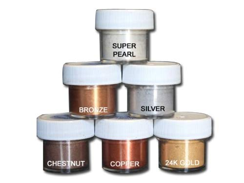 Luster Dust Set of 6 Pearl/Bronze /Silver/Chestnut / Copper/Gold by PETAL CRAFTS