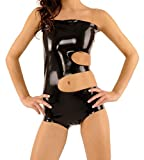 EXLATEX Women Rubber Latex Midriff Strapless Crop Top Bodysuit (Small,Black)