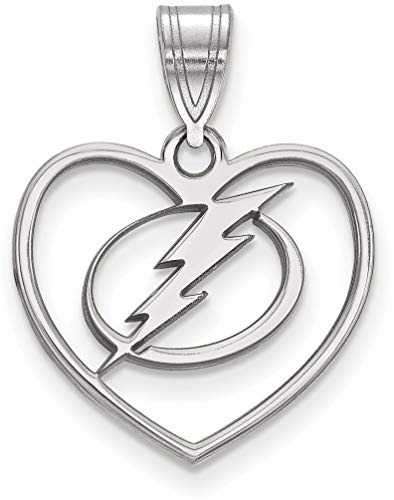Sterling Silver NHL Tampa Bay Lightning Pendant in Heart by LogoArt