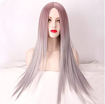 Royalvirgin Pink Gray Mix Color Ombre Wig For Women Long Straight Costume Heat Resistant Silver Wigs