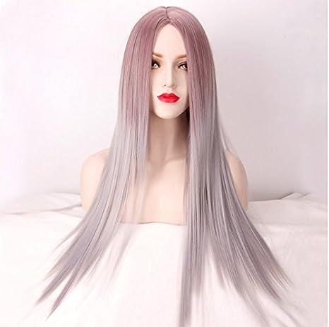 Royalvirgin Rosa Gris Mezcla De Color Ombre Peluca Para Las Mujeres Largo Traje Recto Calor Resistente
