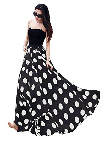 Urban GoCo Mujeres Elegante Impreso Maxifalda Plisada de Cintura Alta Faldas Largas Vacaciones Playa Negro