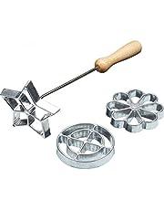 KitchenCraft KCHMROSETTE Home Made Swedish Rosette Iron, Metal, 4 Piece Cookie Mould Set, Silver