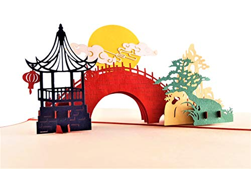iGifts And Cards Inspirational Asian Pavilion Scenery 3D Pop Up Greeting Card Full Moon, Romantic Bridge, Lanterns, Pine Tree, Half-Fold, All Occasion, Birthday, Mid-Autumn Festival, Chinese New Year