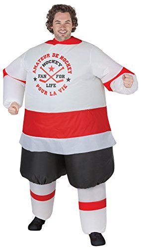 UHC Men's Inflatable Hockey Player Illusion Funny Theme Halloween Costume, OS (Hockey Mask Halloween Costume)