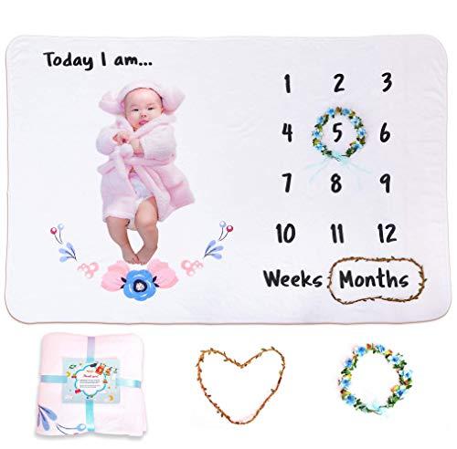 Joli Monthly Milestone Blanket with Wreath | Flannel Fleece Baby Milestone Blanket 40 x 60, Extremely Soft Milestone Blanket for Baby Photos, Baby Growth Blanket Boys/Girls, Perfect Gift for New Moms