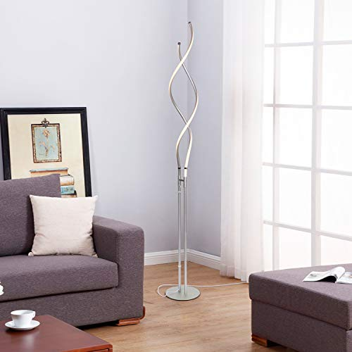 Brightech Embrace – Modern, 40 Inch Tall Lamp for Living Rooms - Adjustable to 66'' LED Floor Lamp – Dimmable, Standing Light for Bedroom, Office – Silver Pole by Brightech (Image #9)