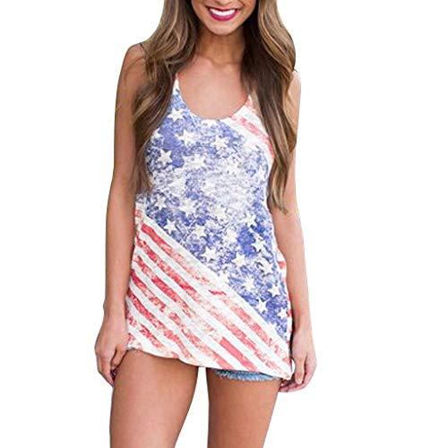 (MTENG Womens Sleeveless Vest Patriotic Stripes Star Print American Flag Print Tank)