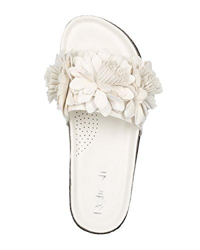 Alrisco Kvinnor Läder 3d Blommor Öppen Tå Fotbädd Slide - Hg30 Av Uppdaterings Samling Vitt Konstläder
