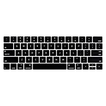LENTION Silicone Keyboard Cover for 2016 2017 MacBook Pro 13-inch / 15-inch with Touch Bar and Touch ID, Not Cover the Touch Bar (US Edition, ANSI, Black)
