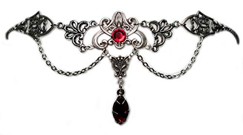 Art Nouveau Filigree Headpiece w/ Ruby Red Stones