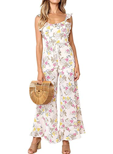 Satin Belt Cropped Pant - ALAIX Women's Casual Flower Frinted Falbala Overall Wide Leg Jumpsuit Bandage Rompers with Belt White-XL