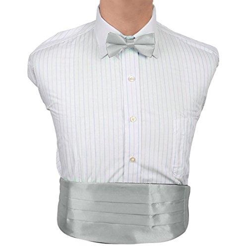 Dan Smith DIC1E01H Silver Plain Microfiber Bridegrooms Cummerbund Bow Tie Set Cummerbund Matching Bow Tie