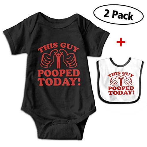 Rolandrace This Guy Pooped Today Baby Boys Girls 100% Cotton Short Sleeve Onesie Romper -