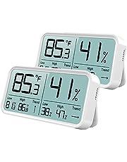 BFOUR Hygrometer voor binnen, digitale thermometer, hygrometer, vochtigheidsmeter, temperatuurmeter, 2 stuks, wit