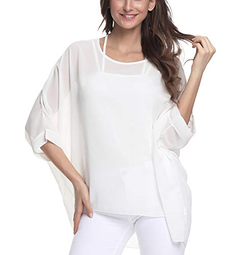 (Myosotis510 Women's Chiffon Caftan Poncho Tunic Top Cover up Batwing Blouse (Z-4306))