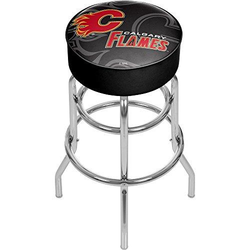 Trademark Gameroom NHL1000-CF-WM NHL Chrome bar Stool with Swivel - Watermark - Calgary Flamesa