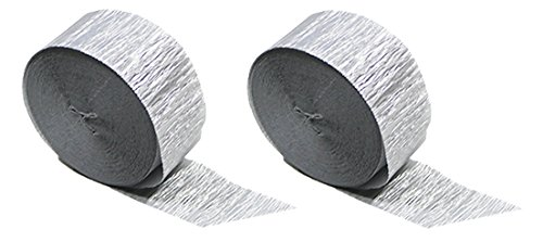 Rolls Metallic Paper (Silver Metallic Crepe Paper Color Combinations (Silver 2 Rolls), 145 FEET TOTAL, Made in USA)