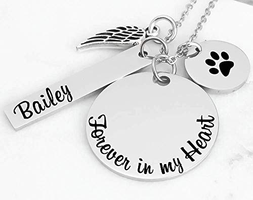 Pet Loss Memorial Jewelry Necklace - Forever in my Heart - Angel Wing - Name Bar - Paw Print (Angel Pet Charm)