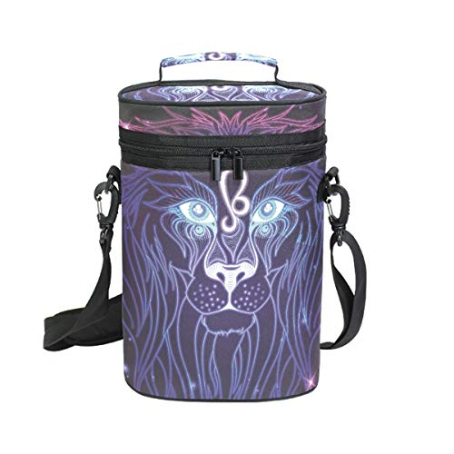 2 Bottle Wine Carrier Bag, Leo Zodiac Sign Wine/Water Bottle Tote with Handle and Shoulder Strap