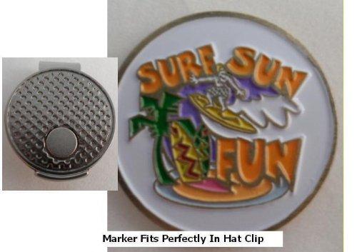 Surf, Sun, Fun Golf Ball Marker w/ Silver Hat Clip