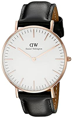 Daniel Wellington Women's 0508DW Sheffield Analog Quartz Black Leather Watch