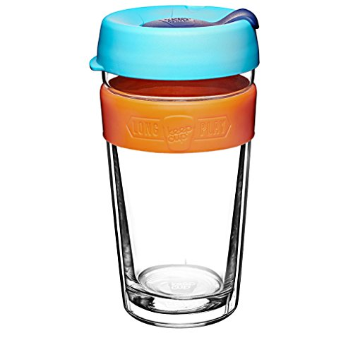 KeepCup 16oz Reusable Coffee Cup. Toughened Glass Cup With Silicone Band & Clear Plastic Twin Wall. 16-Ounce/Large, Shine (Toughened Glass)